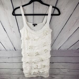 EXPRESS | cream tank top with ruffle size XS